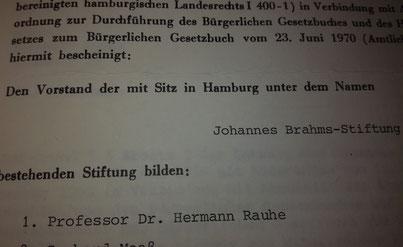 Vorstand Johannes Brahms Stiftung Hermann Rauhe