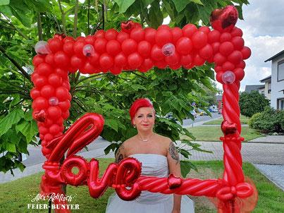 Feier Bunter Foto Box Bilderrahmen Hochzeit Selfie Ballon Dekoration Aachen Düren Köln rot Balloon frame
