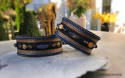 Hundehalsbänder aus Seidenkordel, bestickt mit Halbedelsteinen und Swarowski, auch für Windhunde