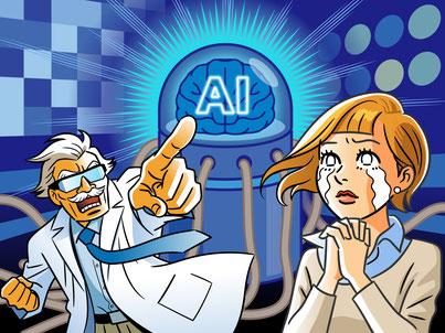 石井英男 アメコミ風 アメコミ 未来 レトロ AI 博士のイラスト コミカル 森マサコ