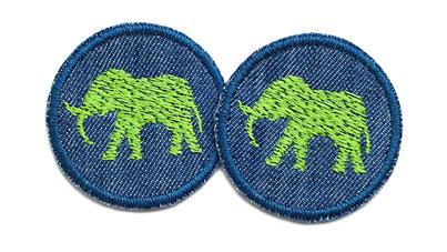 Bild: Jeansflicken Elefant grün mini Patch Hosenflicken zum aufbügeln