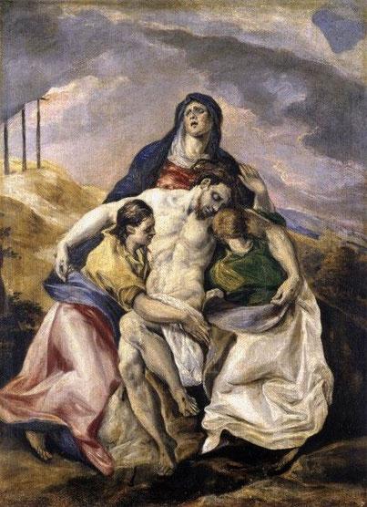 El Greco,la Piedad 1574. Nacido en Creta y con estilo tardobizantino, estudió las obras de Tiziano en Venecia y a Tintoretto. Espejo de la iconografia de la Iglesia Católica Contrarreformista tras el Concilio de Trento. Apretada composición triangular.
