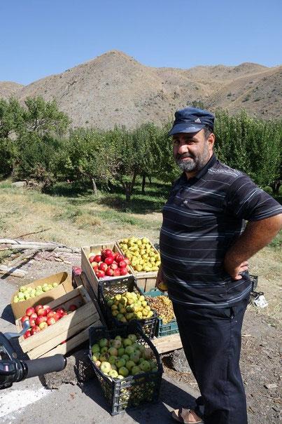 りんご畑でりんご売ってたおじさん。おまけで洋なしもらいました。