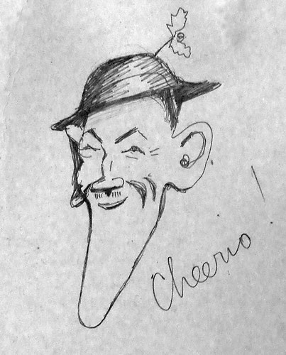 Crosbie Garstin  Self Portrait caricature in Christmas card to his family 1917 (Cornwall Record Office)