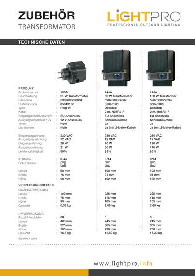 Techmar Garden Lights / LightPro - Transformator 12V WPC Pool Terrasse