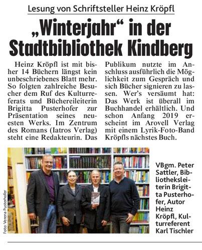 Buchpräsentation Lesung Heinz Kröpfl Roman Winterjahr Stadtbibliothek Kindber Iatros Verlag Brigitta Pusterhofer Karl Tischler Peter Sattler