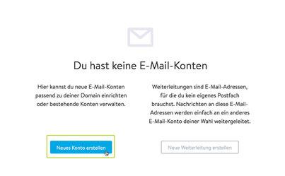 Jimdo Mail: Ansicht E-Mail Konto erstellen