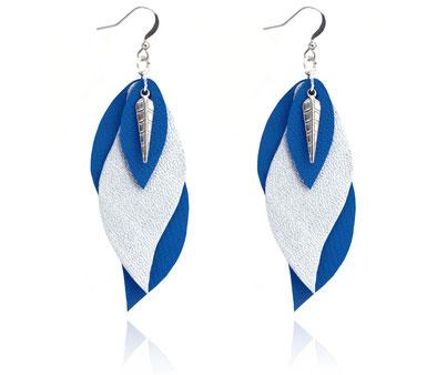 créations bijoux- créateur bijoux- bijoux fait main-bijoux cuir- créateur bijoux cuir- création bijoux- -sarayana-handmade jewelry-leather jewelry-bijoux de créateur- boucles d'oreille cuir- boucles d'oreille bleu électrique-boucles d'oreilles feuilles