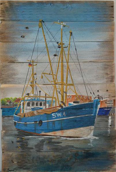 Blauer Kutter im Hafen von Wyk auf Föhr