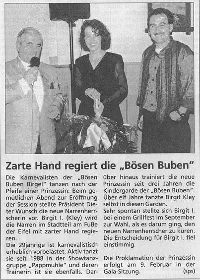 1995 - Präsentation der neuen Tollität während des Kameradschaftsabends im Saal Röske
