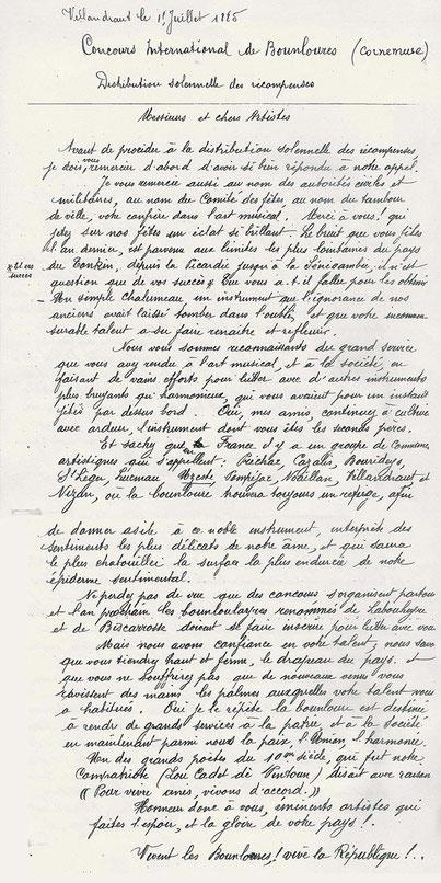 """Discours de remise des prix au concours de """"bounloures"""" (cornemuses) à Villandraut le 17 juillet 1885"""