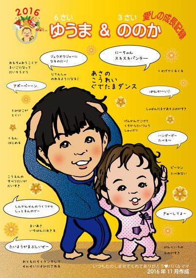 子供の可愛い似顔絵成長記録ポスター