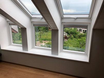 Geniessen Sie die Impressionen unserer Arbeiten im Bereich Dachfenster und Dachkonstruktionen. Lukarnen, Austausch und Neueinbau, Sommerstoren, Aussenrolladen.