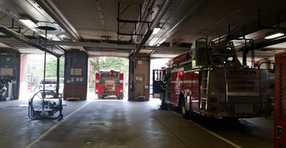 Fanwood Ladder 1 on standby during a Union County mutual aid cover assignment at Plainfield Fire Headquarters