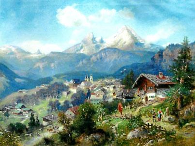 """Heinrich Hiller """"Berchtesgaden mit Watzmann"""""""