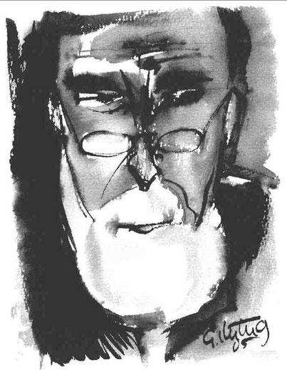 """Selbst"", 2005, Rohrfeder, Pinsel, Tusche, 24 x18 cm"