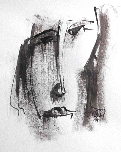 """""""Fünf Gesichter - I"""", 2014, Rohrfeder, Pinsel,Tusche"""