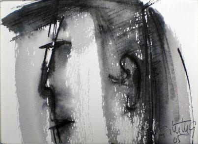 """""""Freundlicher"""", 2005, Rohrfeder, Pinsel, Tusche"""