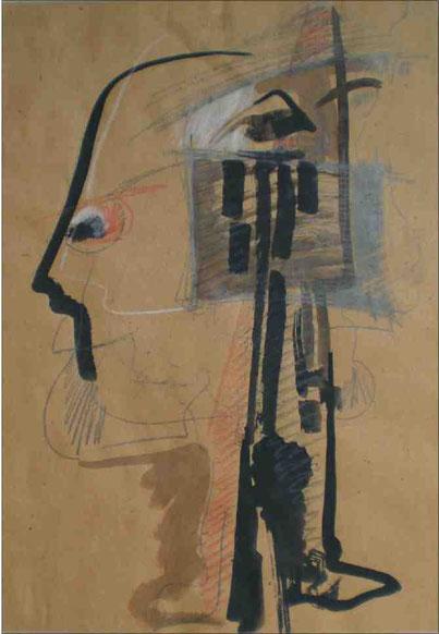 """""""Atelier"""", 1988, Tusche,Kreide,Bleistift auf braunem Papier, 56 x42 cm"""