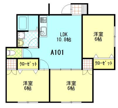 ファミーユ成島 A101 間取図 ※間取り図は現況優先とします。