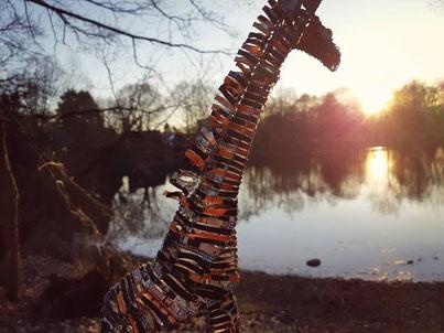 Upcycling Dekoration kaufen, Geschenkidee, Deko Giraffe