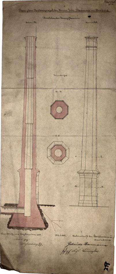 """Bild: Plan eines Kamins Sept 1882 """"freistehender Dampfkamin"""" [Quelle Museum Theuern]"""