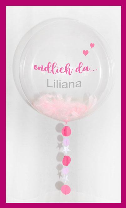 Luftballon Ballon Geschenk Bubble Wunschbubble elegant exlusiv Versand Helium Geburt endlich da Baby mit Name personalisiert Personalisierung Herz Überraschung Deko Dekoration Geschenk Mitbringsel Eltern Krankenhaus
