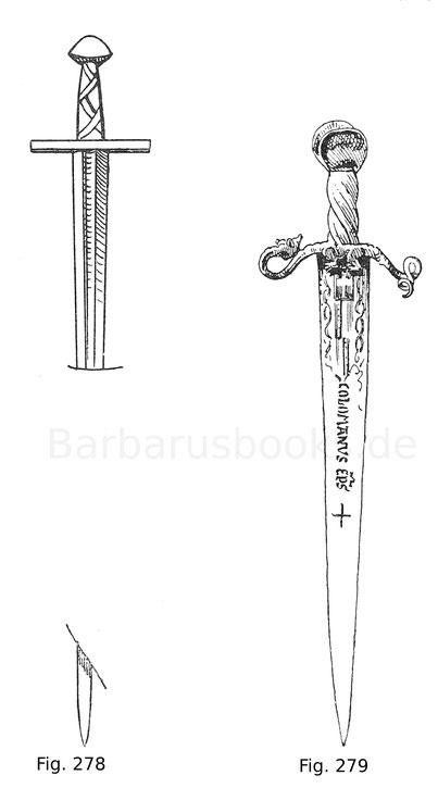 Fig. 278. Schwert des Deutschordensritters Konrad von Thüringen, Landgrafen von Hessen, auf dessen Grabstein von 1241. Nach Jacquemin, Ikonographie.