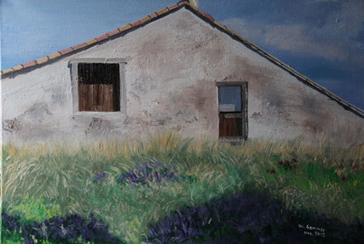 © Haus im Lavendelfeld, Öl auf Leinwand, 70 x 50cm
