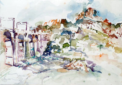 Viaduc d'Anthéor, Aquarell 2015