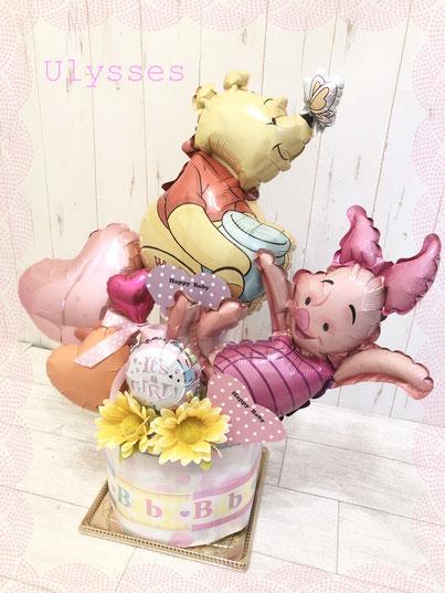 出産祝い オムツケーキ ダイパーケーキ 女の子おむつケーキ 茨城県つくば市 バルーンショップユリシス