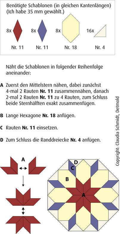 English Paper Piecing Anleitung Stern von Bethlehem Tutorial Star of Bethlehem