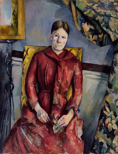 Madame Cézanne im roten Kleid auf Lehnstuhl