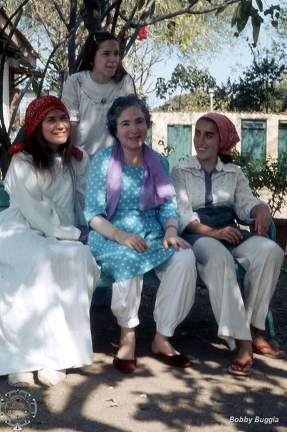 Young ladies with Meher Baba's sister in blue at Meherazad, India