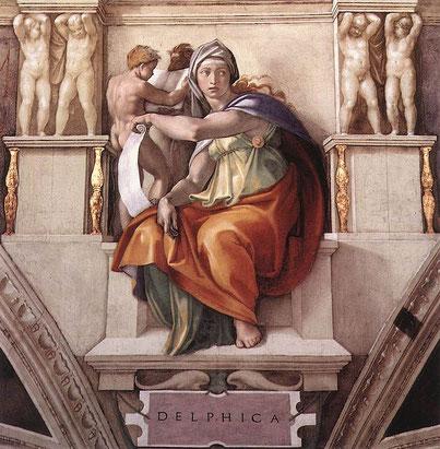 """Michelangelo, """"Sibilla Delfica"""", Cappella Sistina"""