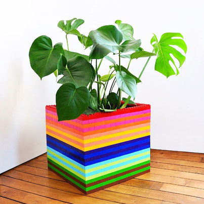 cache-pot design en couleurs