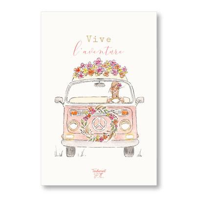tendrement fé illustration papeterie bohème carte combi flower power peace and love collection aquarelle poétique