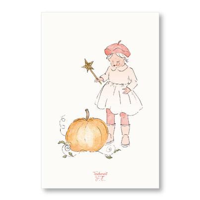 tendrement fé illustration papeterie bohème carte citrouille magique paillettes or collection automne aquarelle poétique