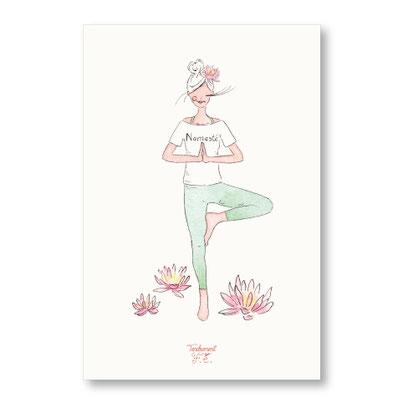 tendrement fé illustration papeterie bohème carte petite yogi namasté yoga collection aquarelle poétique
