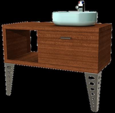 piètement en acier inoxydable pour meuble