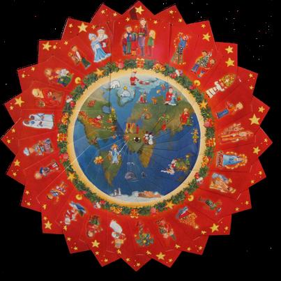 """Diese Tafel hing im Advent am Altartuch und zeigte das Motto """"Weihnachten mit Kindern in aller Welt""""."""