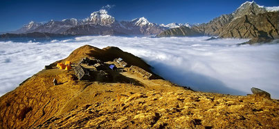 Kopra Ridge Yoga Trek, Nepal; Yoga Holidays in Nepal, Yoga Trekking in Nepal, Yoga Retreat in Nepal, View from Kopra Ridge onto Himalayan Peaks