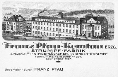 Visitenkarte der Firma Franz Pfau