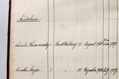 Auch in einem Buch, in dem Rehburger Schulabgänger verzeichnet sind, haben wir ihren Namen gefunden.