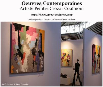 Art Peinture/ Oeuvre abstraite originale unique (Enduit de chaux/ bois)/ Tableau Abstrait
