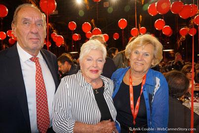 Max Lefrancq-Lumière, petit-fils de Louis Lumière, et son épouse Michèle,  en compagnie de Line Renaud  - Lyon -  Dîner d'ouverture  - Festival Lumière 2016 - Photo © Anik Couble