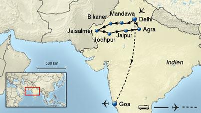 Indien Rundreise und Baden GOA im 5-Sterne-Luxushotel mit Flug