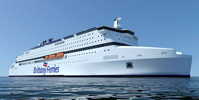 Image de synthèse du projet Pegasis abandonné en 2014, navire devant être construit pour Brittany Ferries et propulsé au GNL.