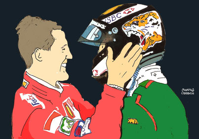 Michael Schumacher & Eddie Irvine by Muneta & Cerracín