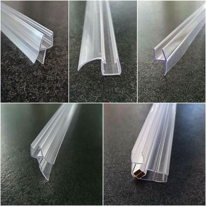 Duschtürdichtungen für Duschtüren aus Glas. Lippendichtung, Dichtlippe, Magnetstreifendichtung